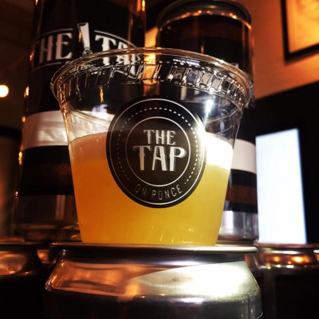 Draft beer on display