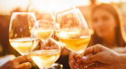 Group of people clinking glasses of white wine.