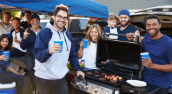 People at a tailgate party