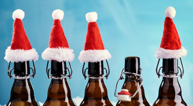 Bottles with Santa hats