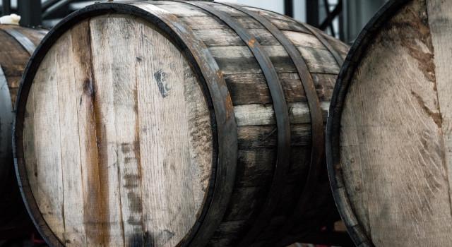 Closeup of two barrels outdoors